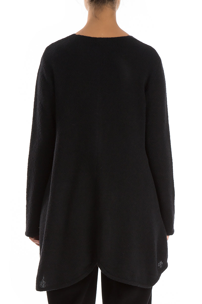 Buttoned Black Wool Sweater