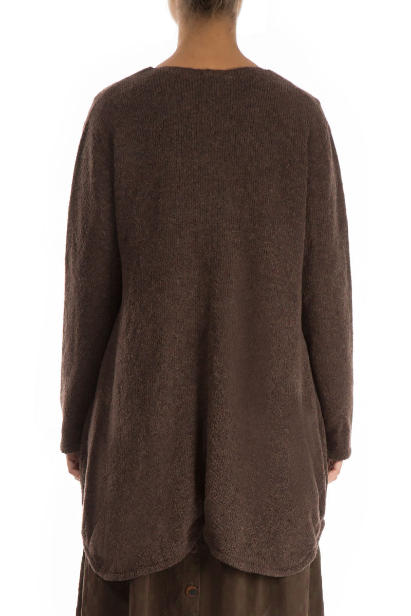 Buttoned Brown Wool Sweater