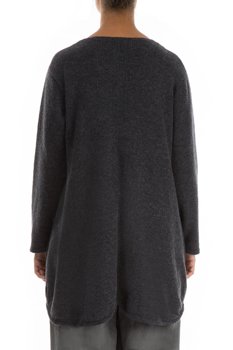 Buttoned Dark Grey Wool Sweater