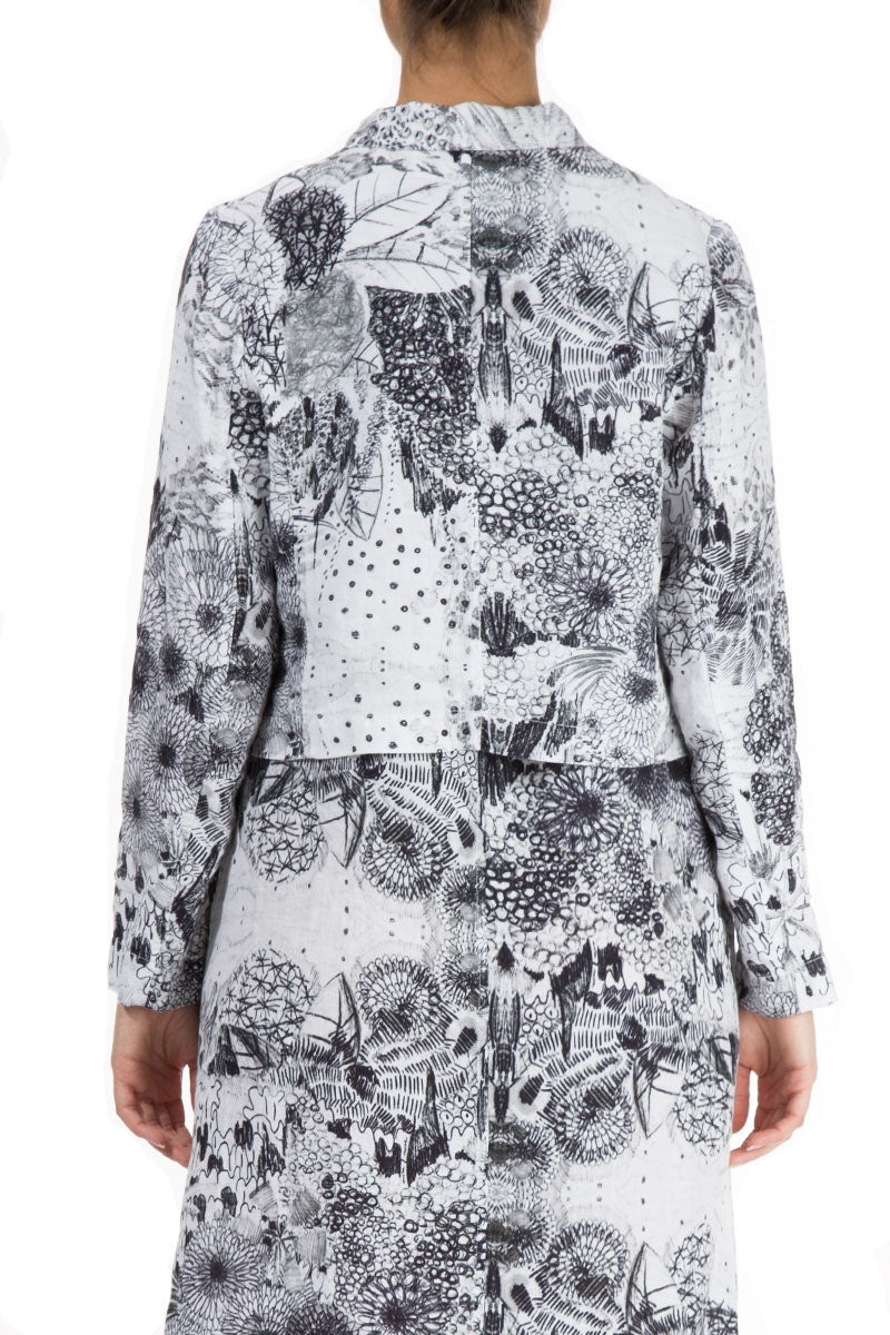 Buttoned Graphical Flowers Print Linen Jacket - GRIZAS | Natural Contemporary Womenswear