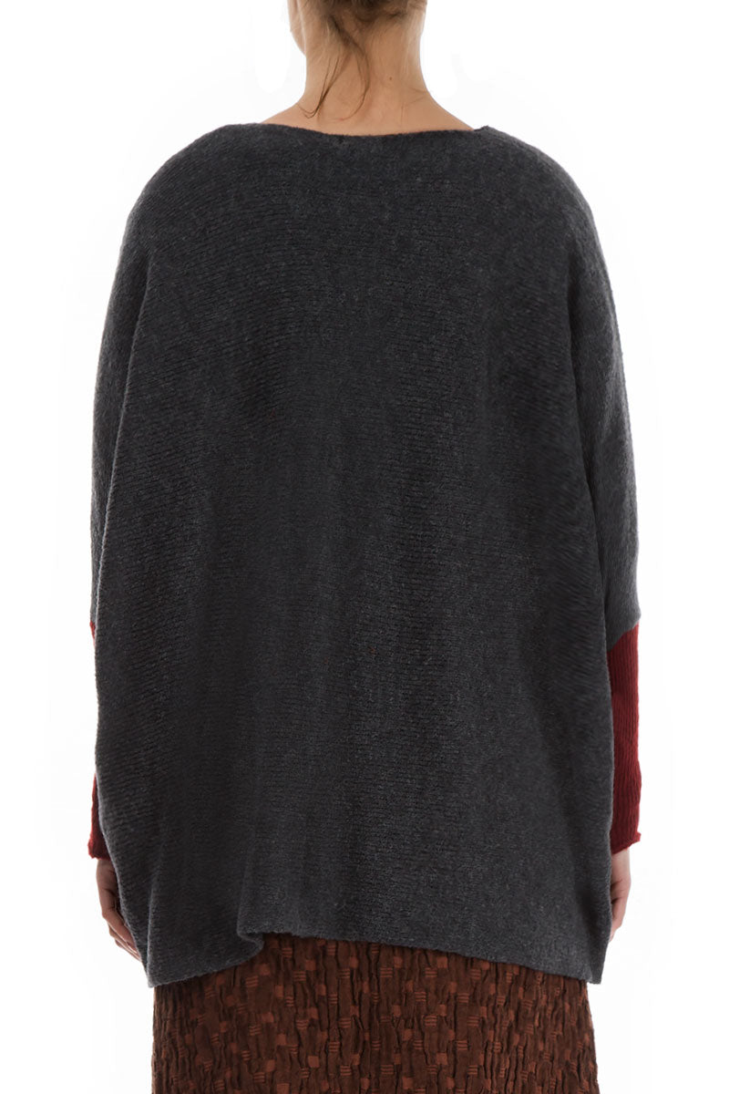 Buttoned Loose Dark Grey Wool Sweater