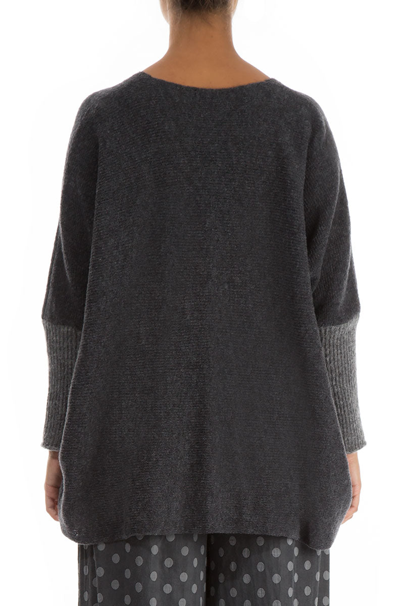 Buttoned Loose Grey Wool Sweater