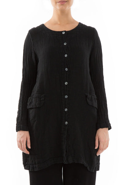 Buttoned Black Linen Jacket - GRIZAS | Natural Contemporary Womenswear