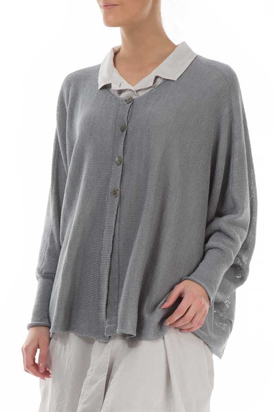 Buttoned Boxy Grey Linen Sweater - GRIZAS | Natural Contemporary Womenswear