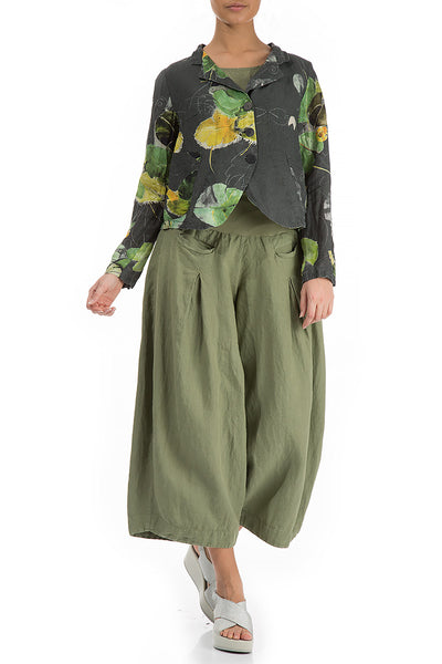 Buttoned Waterlilies Print Linen Jacket - GRIZAS | Natural Contemporary Womenswear