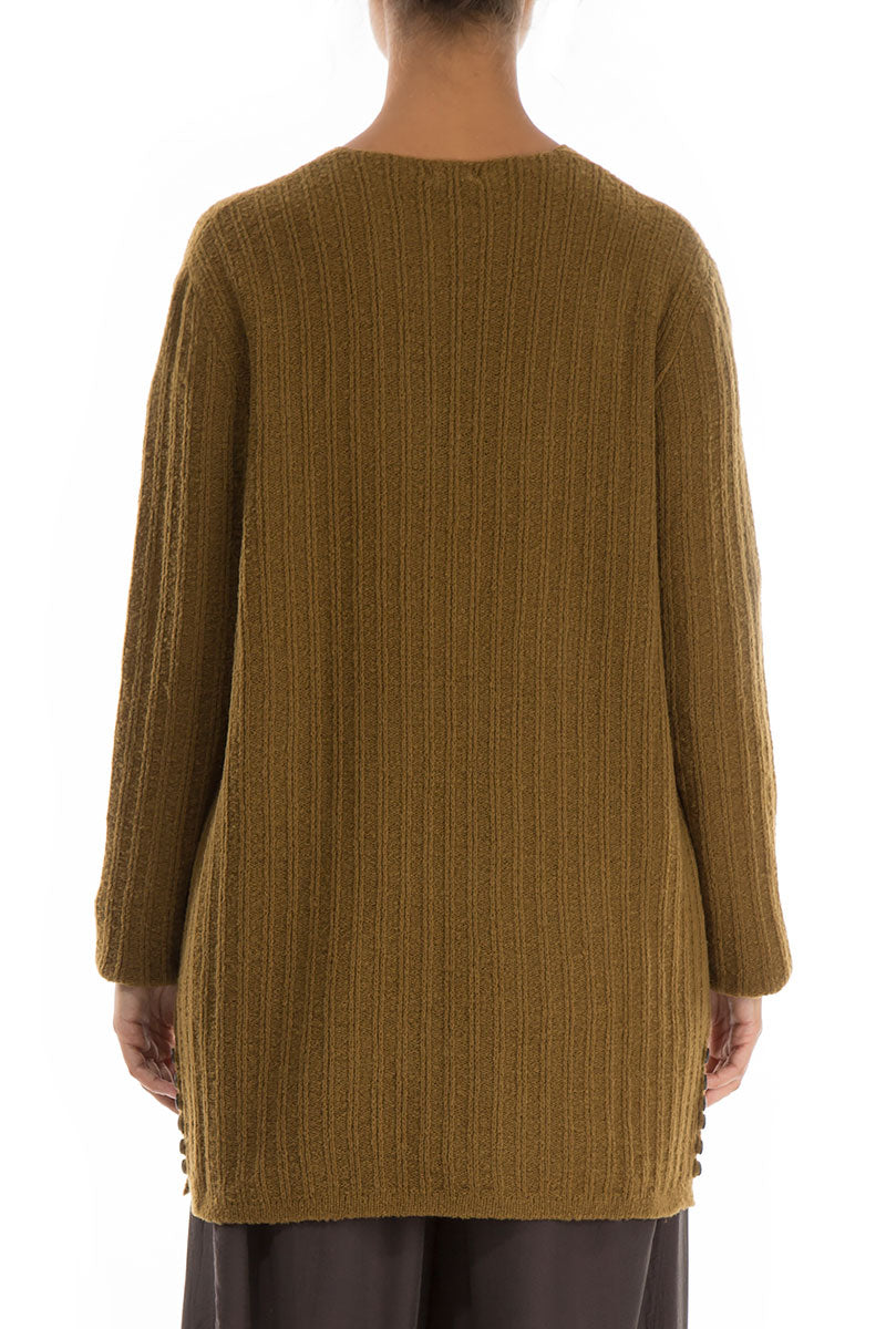 Buttons Decorated Mustard Wool Sweater