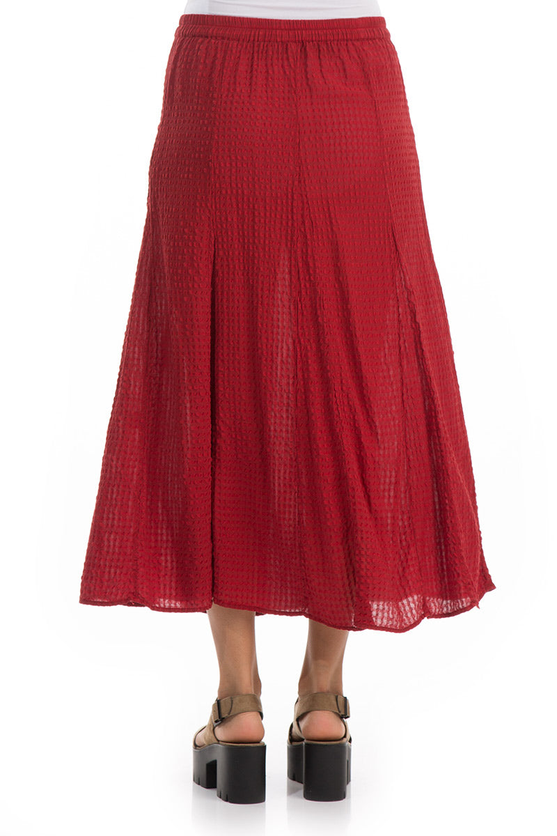 Checkered Texture Red Silk Cotton Skirt