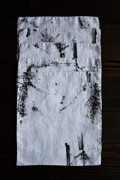 Cherry Blossom Print Linen Table Napkins
