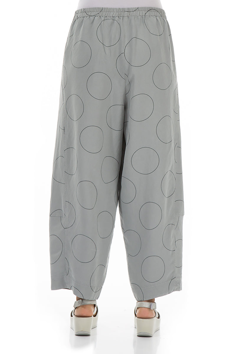 Circles Print Light Grey Silk Linen Trousers