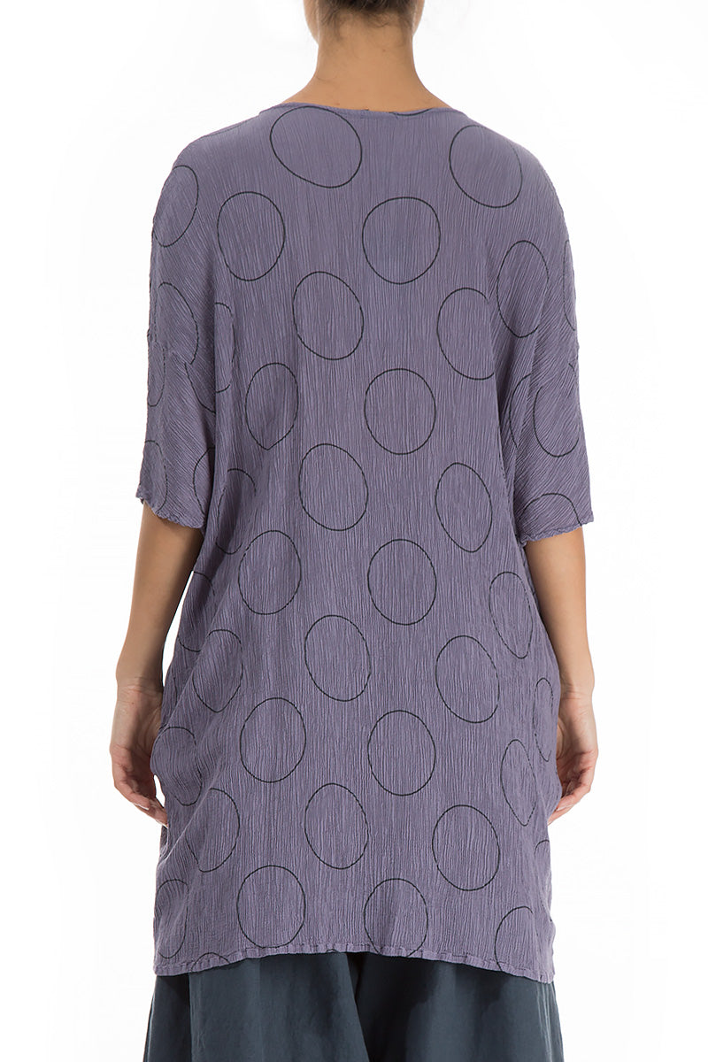 Circles Print Violet Tulip Silk Viscose Tunic - GRIZAS | Natural Contemporary Womenswear