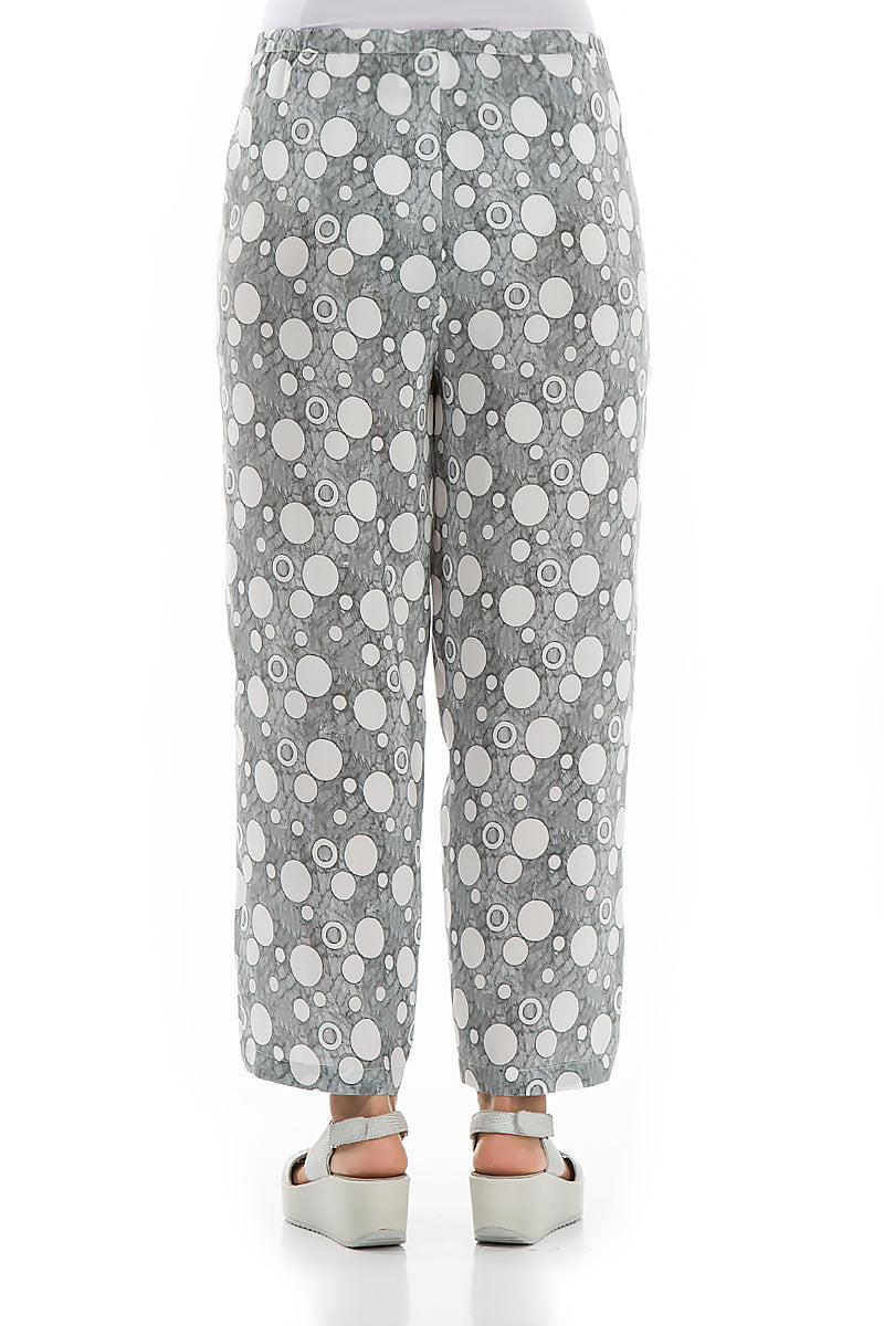 Bubbles Print White Silk Bamboo Trousers