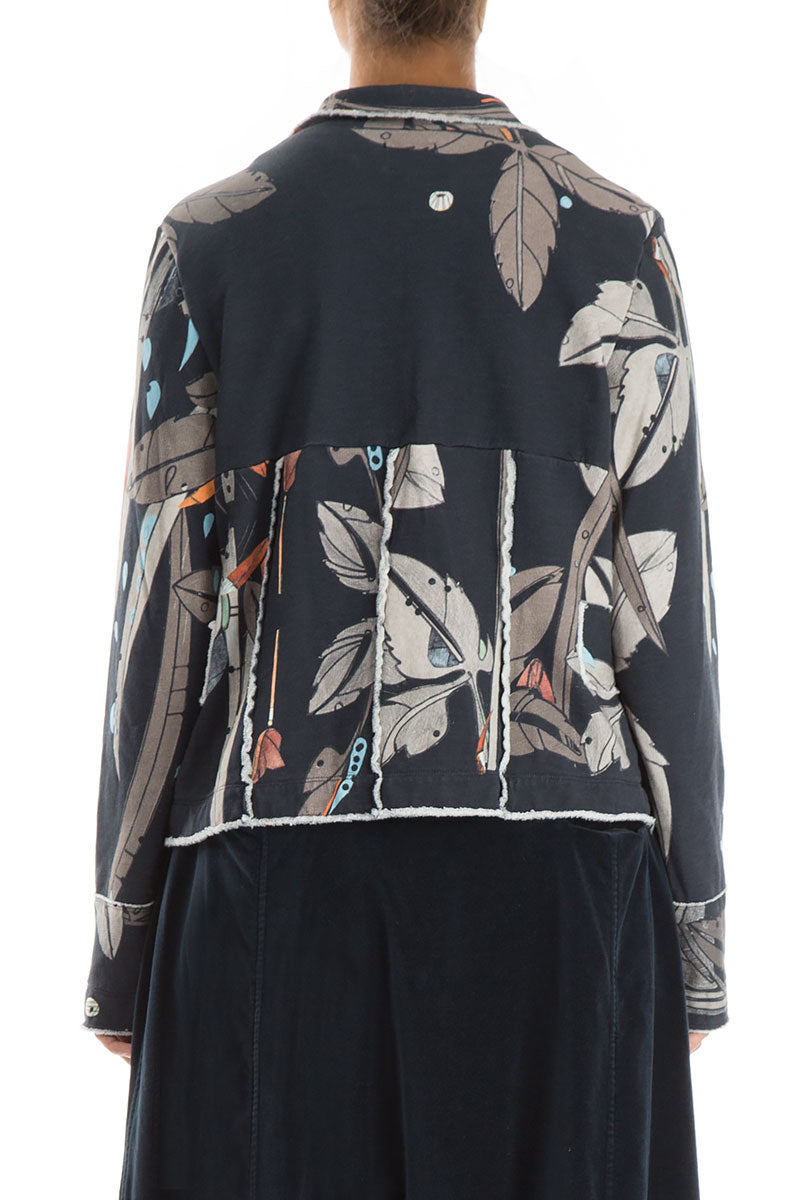 Collar Leaves Print Cotton Jacket