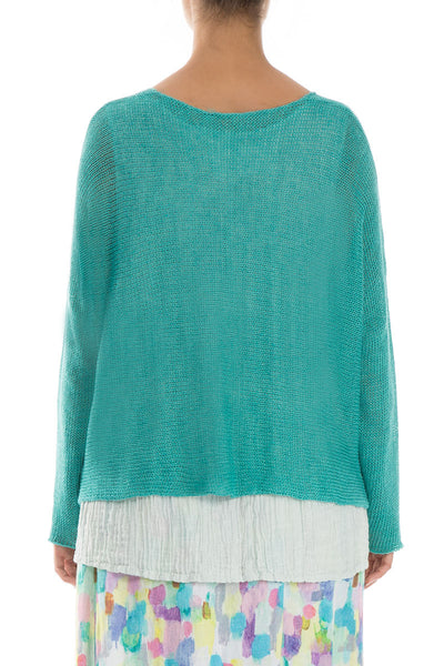 Confetti Pockets Aqua Green Linen Jumper