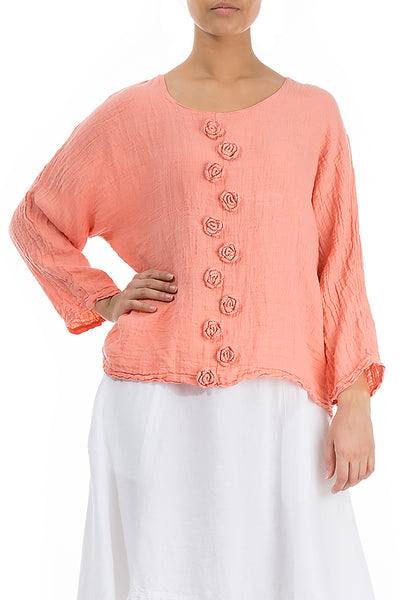 Coral Crochet Roses Linen Blouse - GRIZAS | Natural Contemporary Womenswear