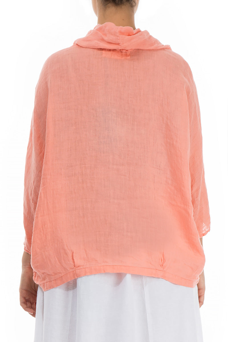 Cowl Neck Coral Linen Blouse - GRIZAS | Natural Contemporary Womenswear
