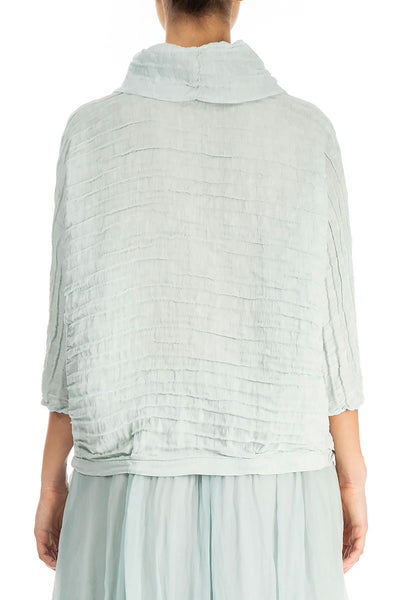 Cowl Neck Aqua Breeze Silk Linen Blouse