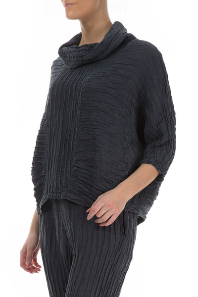 Cowl Neck Charcoal Silk Linen Blouse - GRIZAS | Natural Contemporary Womenswear