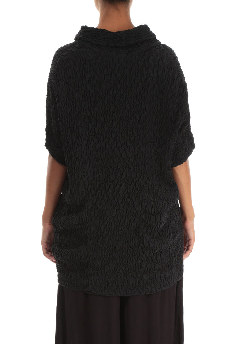 Cowl Neck Crinkled Black Pure Silk Tunic