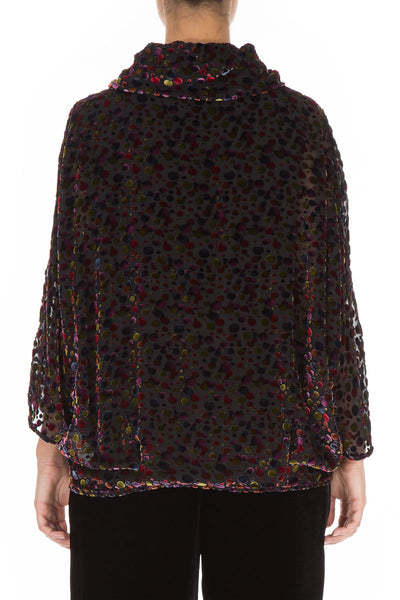 Cowl Neck Festive Devoré Dot Silk Velvet Blouse