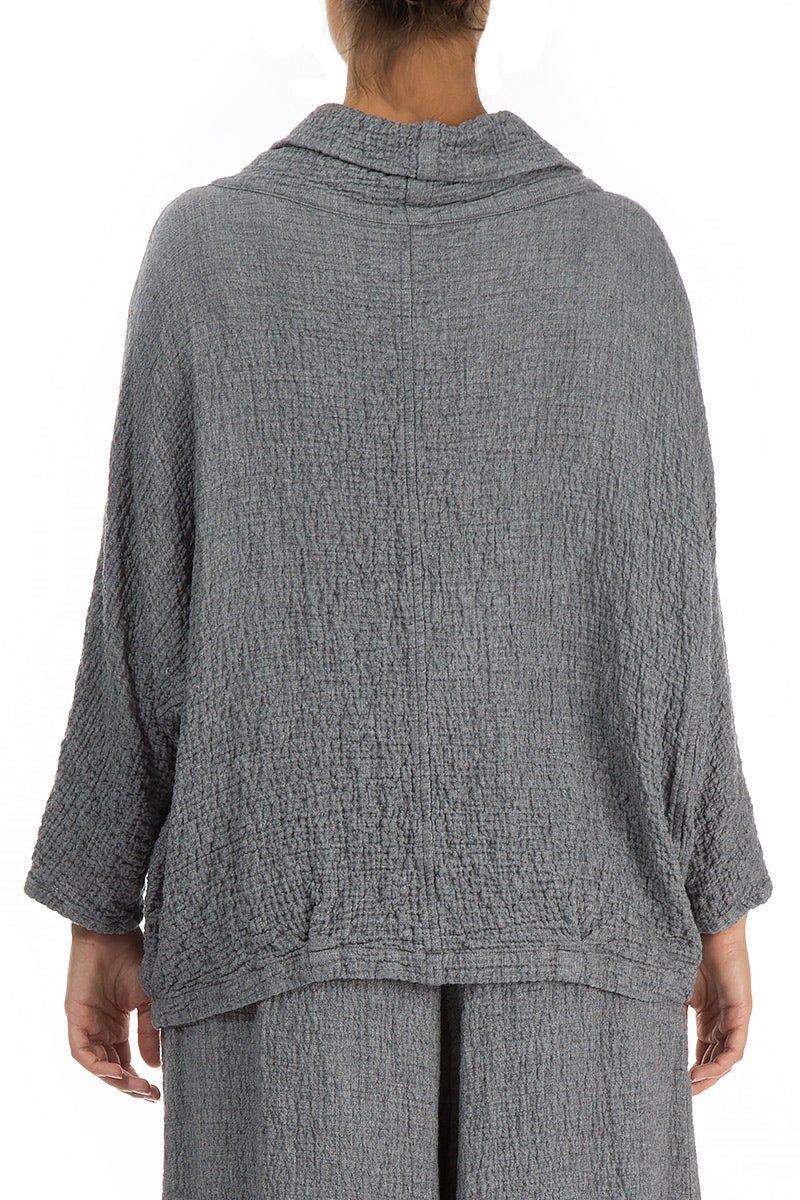Cowl Neck Grey Wool Blouse