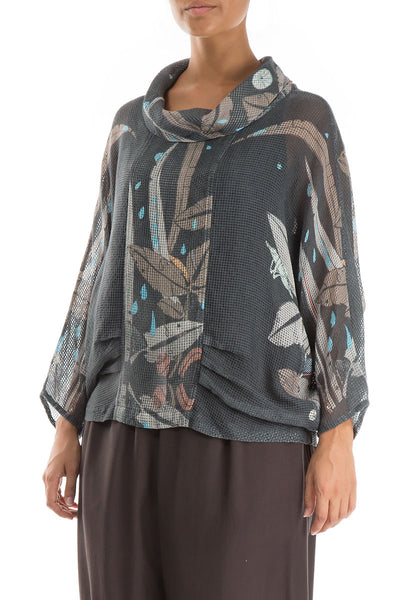 Cowl Neck Leaves Print Mesh Blouse