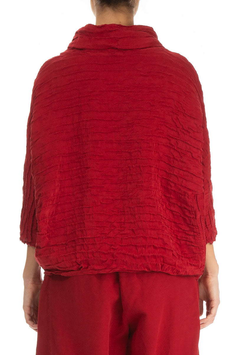 Cowl Neck Red Silk Linen Blouse