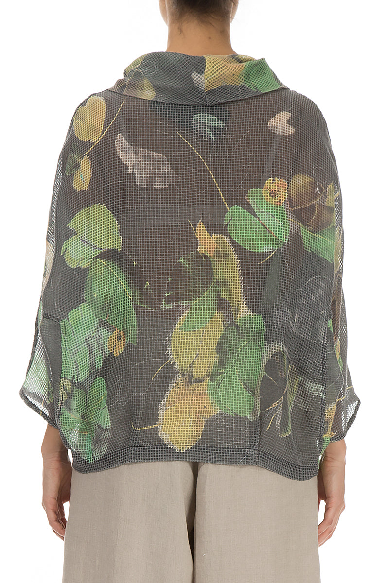 Cowl Neck Waterlilies Silk Blouse