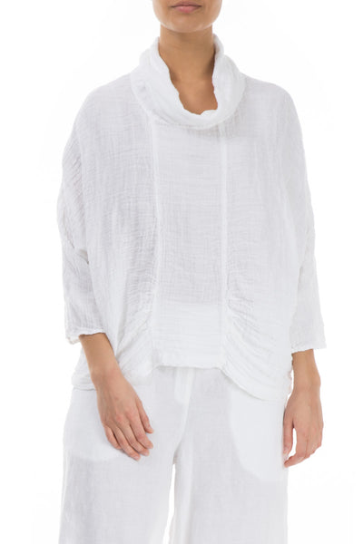 Cowl Neck White Crepe Linen Blouse - GRIZAS | Natural Contemporary Womenswear