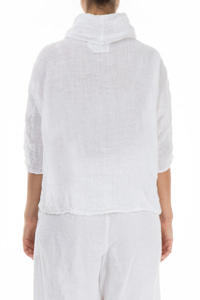 Cowl Neck White Linen Blouse - GRIZAS | Natural Contemporary Womenswear
