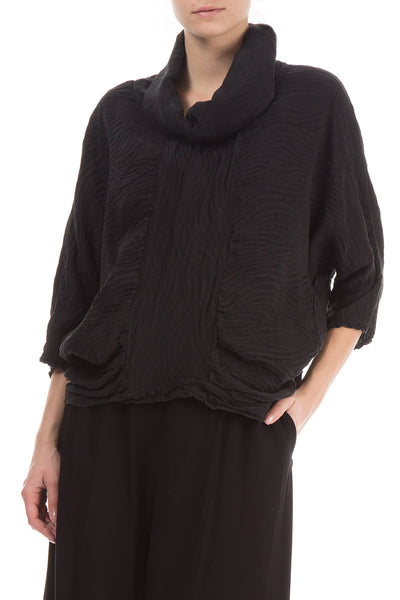 Cowl Neck Black Textured Blouse