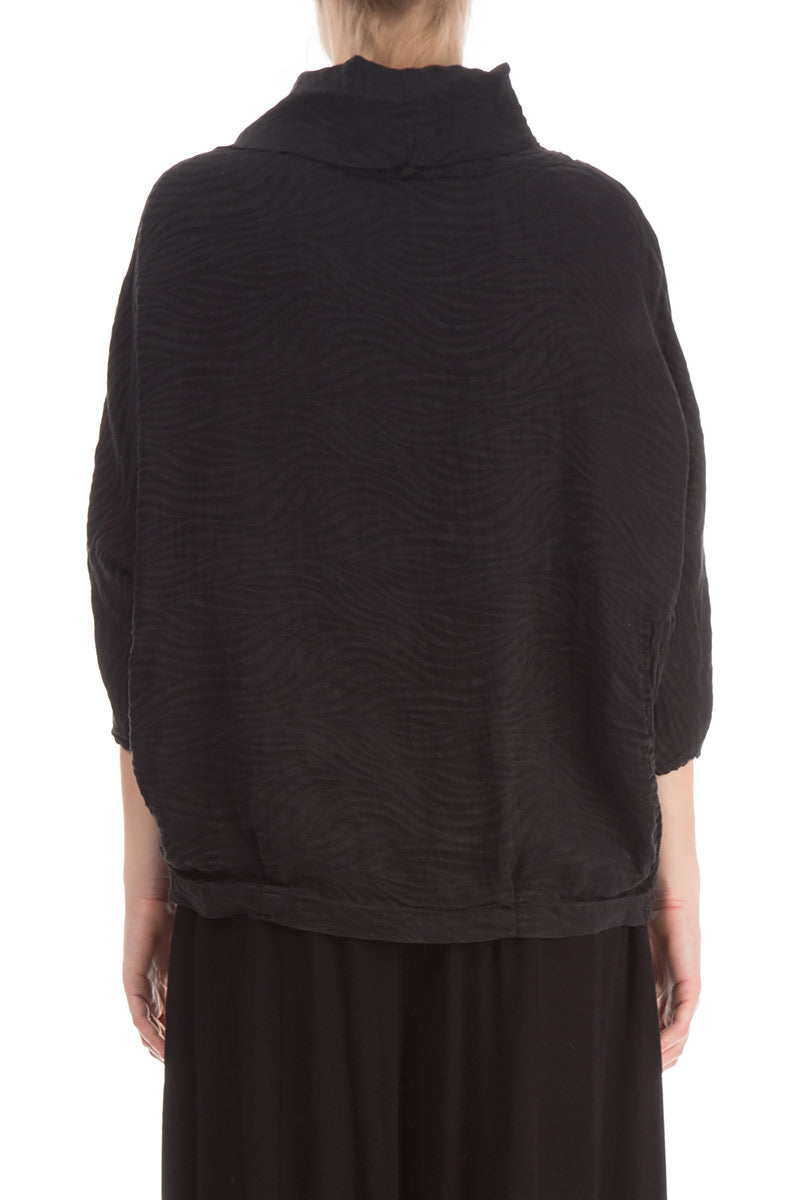 Cowl Neck Black Textured Blouse - GRIZAS | Natural Contemporary Womenswear