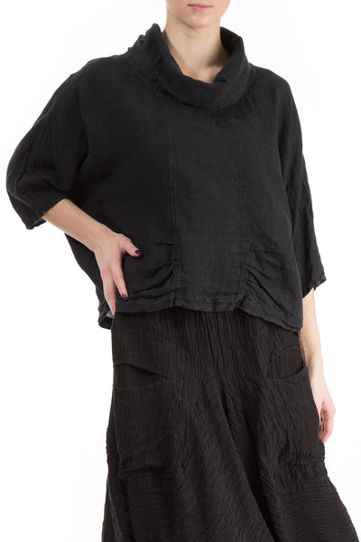 Cowl Neck Black Linen Blouse - GRIZAS | Natural Contemporary Womenswear