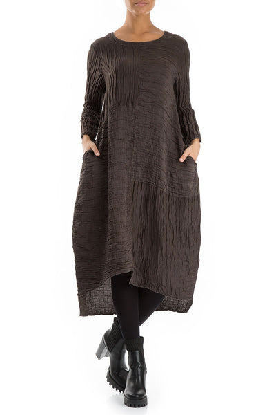 Crinkled Ash Silk Linen Dress