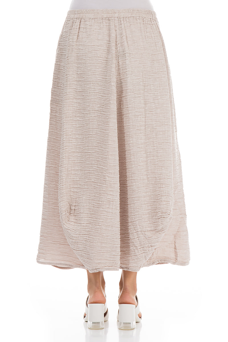 Crinkled Beige Silk Skirt