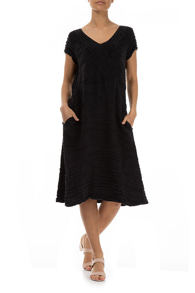Crinkled Black Silk Linen Dress