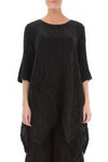 Crinkled Black Silk Linen Tunic