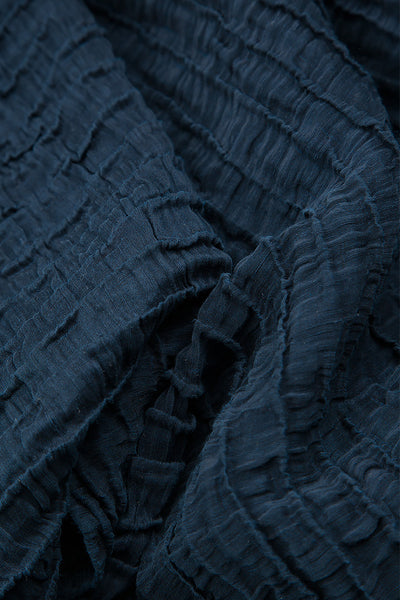 Crinkled Blue Night Silk Linen Blouse