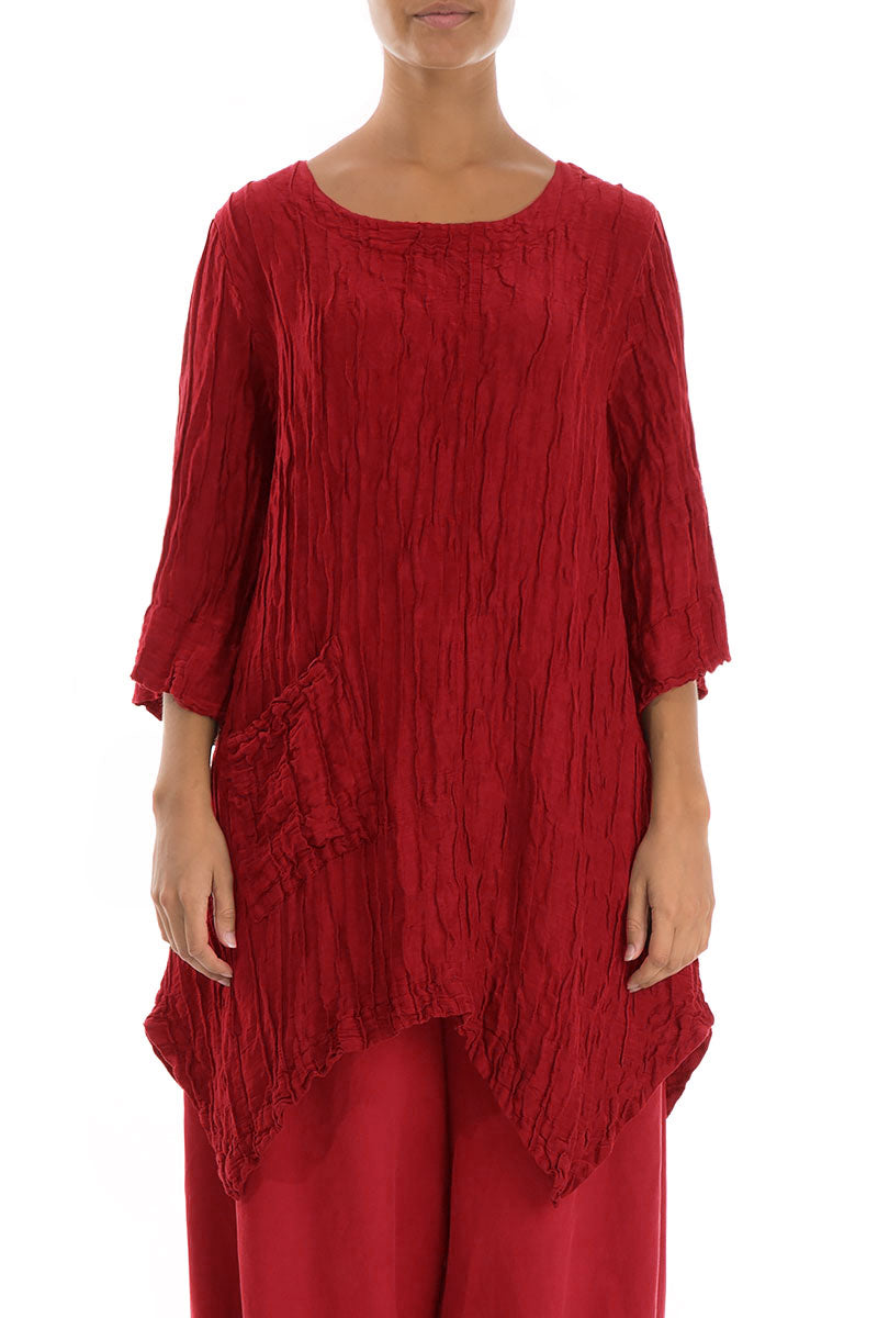 Crinkled Bright Red Silk Linen Tunic