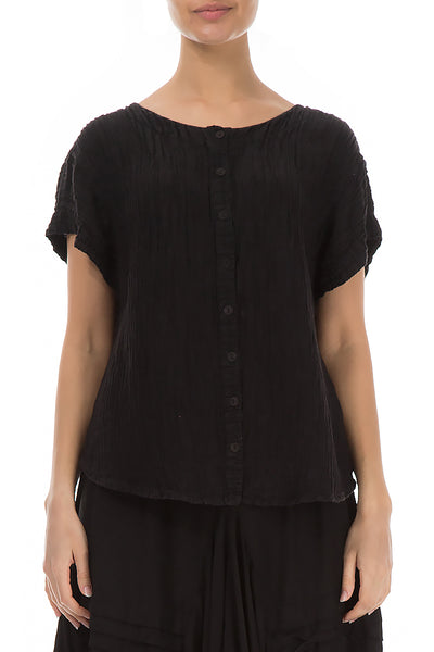 Crinkled Buttoned Black Blouse