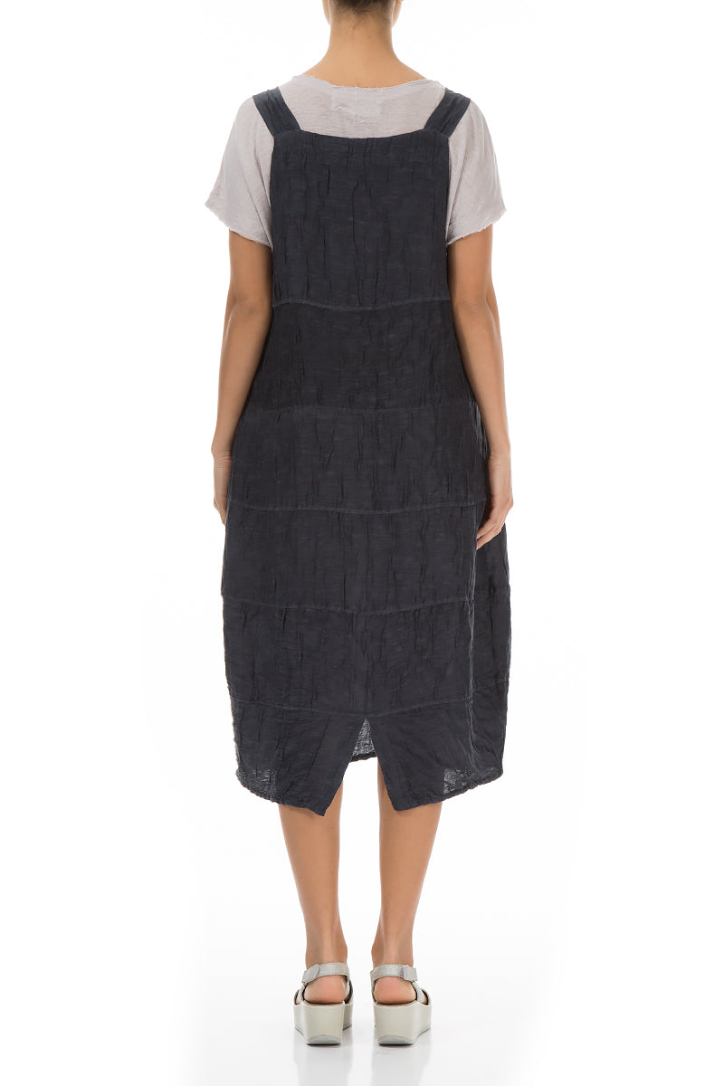 Crinkled Charcoal Silk Linen Overall Dress