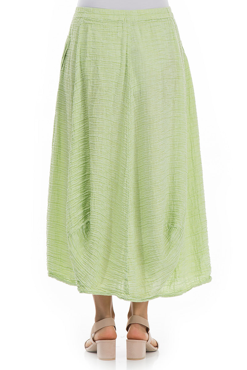 Crinkled Lime Silk Skirt