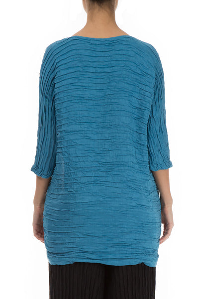 Crinkled One Pocket Ocean Blue Tunic