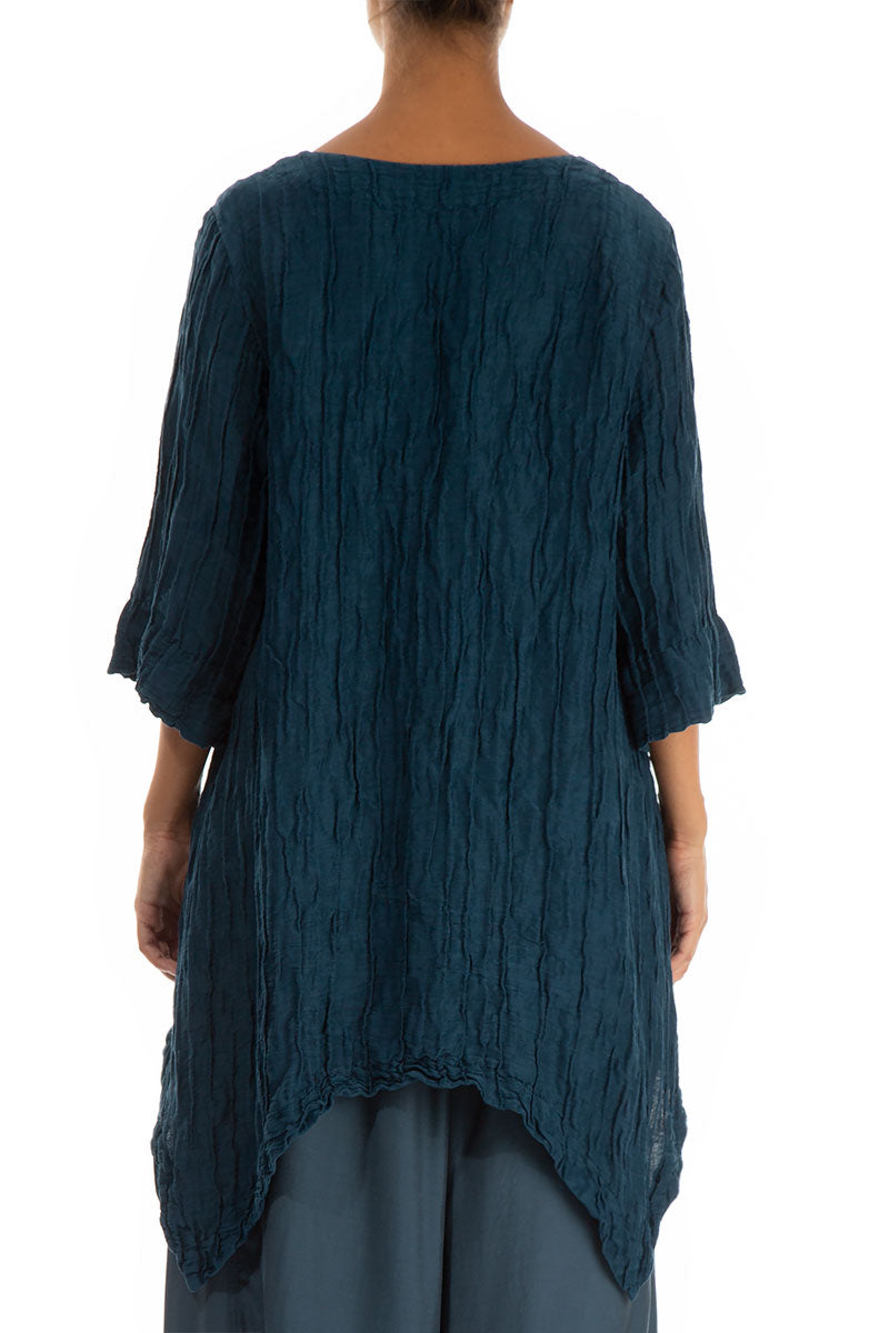 Crinkled Peacock Blue Silk Linen Tunic