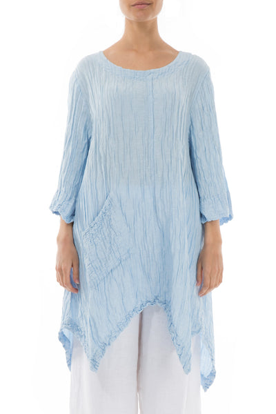 Crinkled Sky Blue Silk Linen Tunic