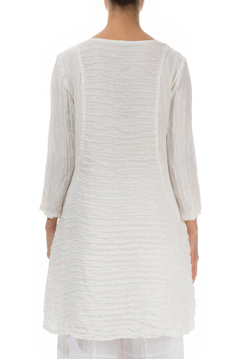 Crinkled Two Pockets White Tunic