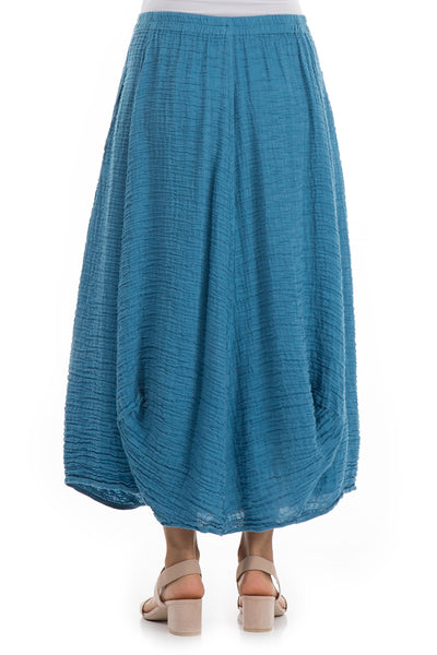 Crinkled Ocean Blue Silk Skirt - GRIZAS | Natural Contemporary Womenswear