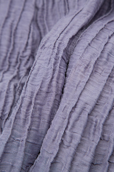 Crinkled Violet Tulip Silk Linen Dress
