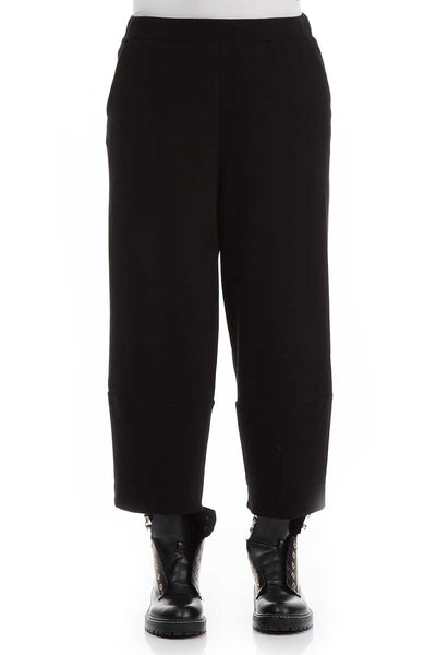 Cropped Black Jersey Cotton Trousers