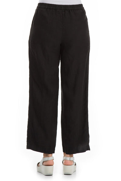 Cropped Black Linen Trousers - GRIZAS | Natural Contemporary Womenswear