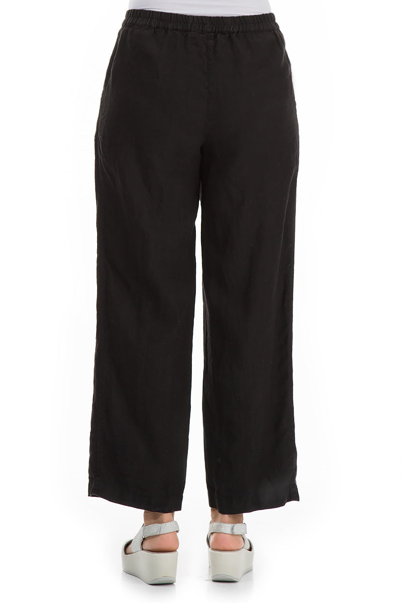 Cropped Black Linen Trousers